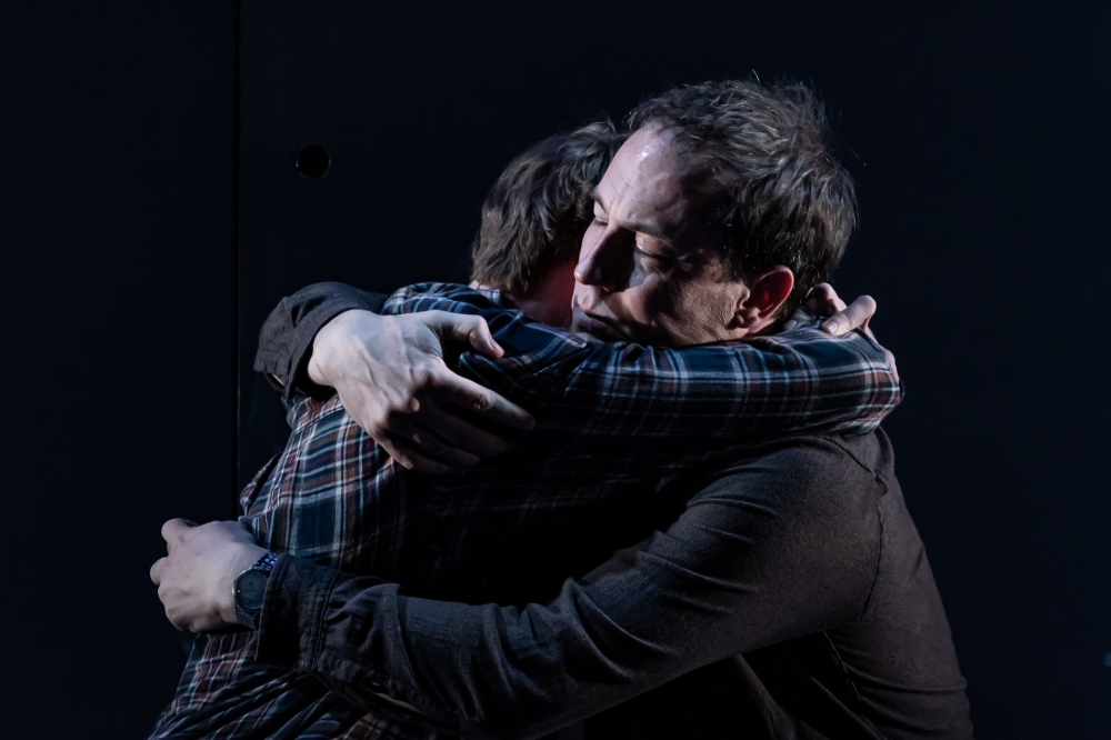 The Hunt at the Almeida. Stuart Campbell (Marcus) and Tobias Menzies (Lucas). Credit - Marc Brenner (5)